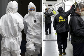 Left: Officials wearing protective attire work to diagnose people with suspected symptoms at a hospital in Daegu. Right: Workers disinfect subway trains in Tehran on Wednesday morning.