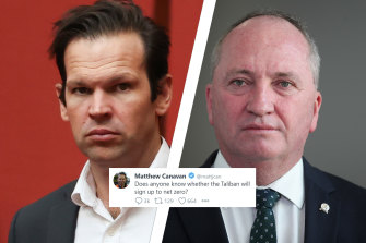 """Nationals leader Barnaby Joyce, right, said he had told senator Matt Canavan his comment was an """"unnecessary conflation"""" of two issues."""
