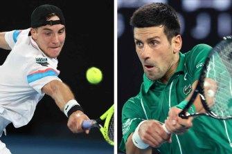Struff, left, twice broke Djokovic's serve in the third set.