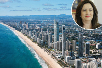 Queensland Premier Annastacia Palaszczuk, inset, has opened the border to Sydneysiders, meaning places like the Gold Coast areback on the list.