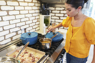 Selena Gomez in an episode of Selena + Chef, a 10-episode cooking series on Binge.
