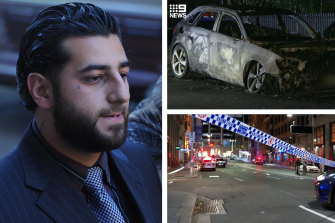 Bilal Hamze and, inset, the crime scene in Sydney's CBD and a burnt-out car that was found in Northwood, in Sydney's lower north shore.