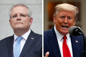 Donald Trump, right, invited Scott Morrison to attend the G7 summit in Camp David in September.