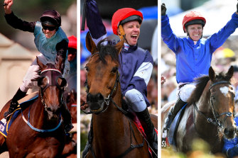 Kerrin McEvoy wins the Melbourne Cup on Brew, Almandin and Cross Counter.
