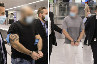 Matthew John Battah, 36, and Benjamin Neil Pitt, 38, arriving in Sydney last week after being extradited from Dubai to face drug importation and money laundering charges.