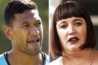 Israel Folau left rugby to play in the English rugby league competition. Raelene Castle is the Rugby Australia chief executive.