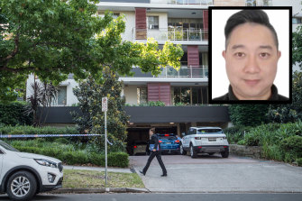 Police establish a crime scene at a unit block at Pymble and, inset, Haoling Luo.