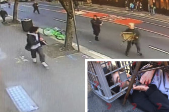 Brave bystanders used chairs and a milk crate to restrain a knife-wielding man in Sydney's CBD in August.