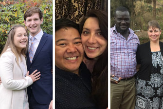 Couples Alicia Tucker and Simon van Oordt,Gordon Chan and Svetlana Chernykh, andDavid Ambuso andLee Clayton can be together in Australia afterthe government allowed travel exemptions for people holding prospective marriage visas.