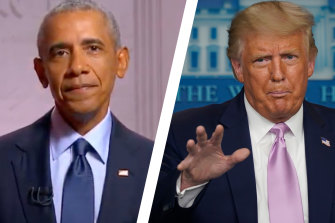 "The court heard Donald Trump (right) appeared to have ""considerable personal antipathy"" towards Barrack Obama (left)."