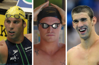 Cody Simpson (centre) sought counsel from some greats of the pool including Grant Hackett and Michael Phelps before embarking on his unlikely Olympics push.