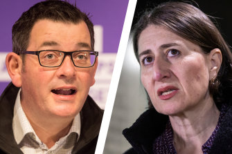 Daniel Andrews' state recorded 12 new coronavirus infections on Tuesday while Gladys Berejiklian's confirmed 13.