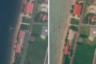 Satellite images show part of the base before and after a US-funded building was demolished.