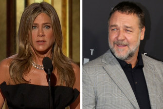 Jennifer Aniston spoke at the Golden Globes on behalf of Russell Crowe, who called to leaders to take action over climate change.