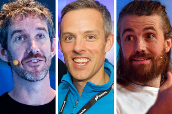 Atlassian founders Scott Farquhar, left, with Mike Cannon-Brookes, right, and  Atlassian president Jay Simons, centre.