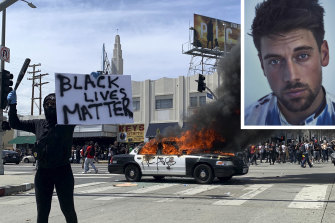The rioting in LA and, inset, Lincoln Younes.