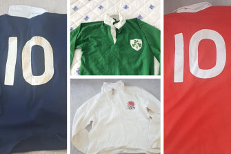 Clockwise from left: the Scottish, Irish, Welsh and English jerseys Mark Ella swapped on the famous 1984 grand slam tour.