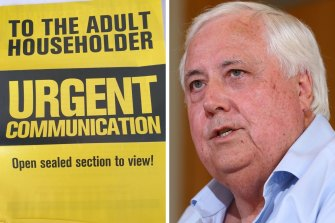 Clive Palmer's anti-vaccination flyers have started landing in letterboxes in Broken Hill and Far West NSW.
