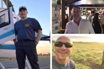 Pilot David Kerr, left, and his friends, Grant Kuhnemann, top, and Jamie Ogden, were are among the five who died in the crash.