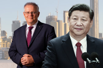 Prime Minister Scott Morrison and China's President Xi Jinping.