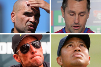 Clockwise from top left, Anthony Mundine, Mitchell Pearce, Tiger Woods and Lance Franklin.