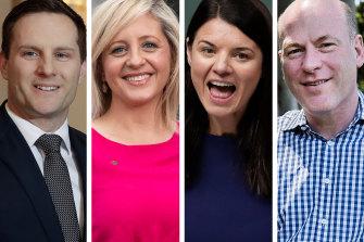 Under threat MPs: Alex Hawke, Melissa McIntosh, Fiona Martin and Trent Zimmerman.