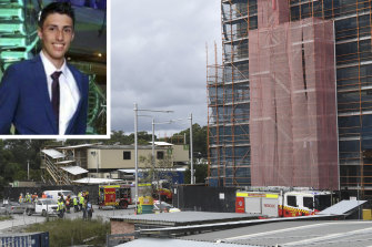 Christopher Cassaniti, 18, died after scaffolding collapsed at a Macquarie Park in April.