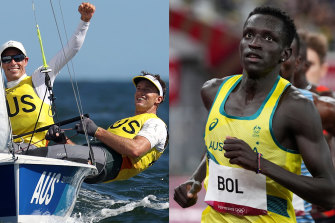 Sent hearts racing: Mathew Belcher and Will Ryan won gold in sailing while Peter Bol came fourth in the 800m.