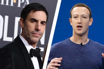 Comedian and actor Sacha Baron Cohen tackles Facebook and its founder Mark Zuckerberg.