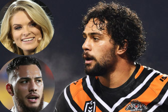Taking sides: Erin Molan was blasted by NRL stars such as Addin Fonua-Blake (inset, left) but Wests Tigers forward Josh Aloiai has gone in to bat for the commentator.