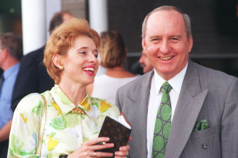 Alan Jones with racehorse trainer Gai Waterhouse before a race.