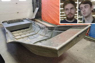 A dinghy police recently found and, inset, missing Canadian men and suspected murderers Kam McLeod and Bryer Schmegelsky.
