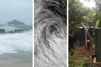 There have been large swells (L) and fallen trees (R) as ex-Tropical Cyclone Uesi hit Lord Howe Island.