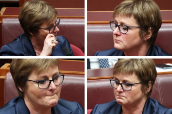 Defence Minister Linda Reynolds became emotional during question time after earlier delivering her statement to Parliament.
