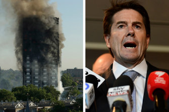 NSW Minister for Better Regulation Kevin Anderson and the Grenfell Tower building in west London. Photo: AP/AAP