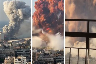 A series of images of the August 4 port explosion in Beirut.