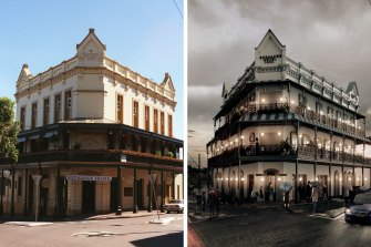 The Exchange Hotel in Balmain and the proposed new look.