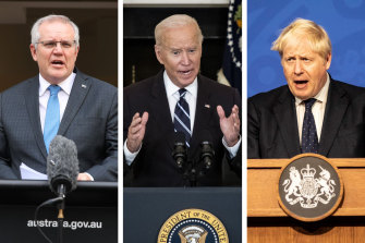 Scott Morrison, Joe Biden and Boris Johnson launched the AUKUS alliance on Thursday morning.