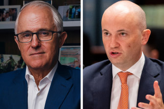 Dumped: Former prime minister Malcolm Turnbull, left, has been removed as head of a state government advisory body on climate change by Energy and Environment Minister Matt Kean, right.