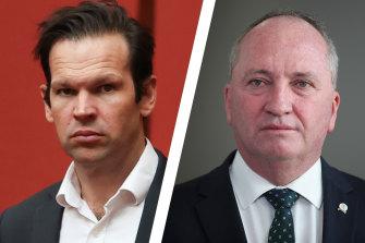 Barnaby Joyce backer Matt Canavan (left) opposes the net zero target.