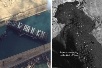 Satellite images showed ships lined up behind the Ever Given while it was blocked.
