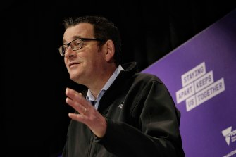 Premier Daniel Andrews said 57 people were in Victorian hospitals with coronavirus on Sunday.