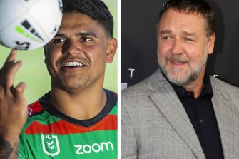 Latrell Mitchell and Russell Crowe.