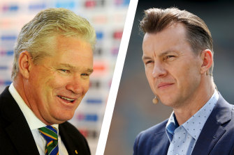Former Australian fast bowler Brett Lee, right, attempted to revive Dean Jones, left, after he collapsed at their hotel.