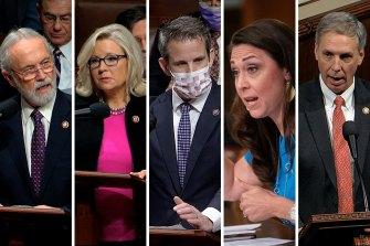 Jaime Herrera Beutler,Adam Kinzinger, Dan Newhouse, Tom Rice and Liz Cheney composite image for Trump Republican impeachment voters.