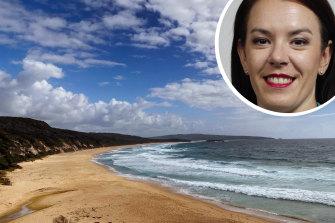 Bournda Beach on Friday where the decomposed foot of Melissa Caddick, inset, was found last Sunday.