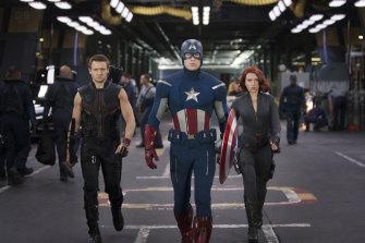 """From left: Hawkeye (Jeremy Renner), Captain America (Chris Evans) and Black Widow (Scarlett Johansson) from Marvel's """"Avengers"""" franchise."""