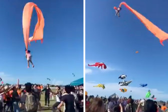 A three-year-old girl entangled in the tail of a giant kite survived a terrifying ride after being swept more than 30 metres into the air during a kite festival in Taiwan, video footage posted on social media showed.
