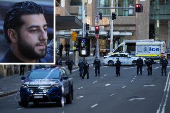 The crime scene in Sydney's CBD where underworld figure Bilal Hamze, inset, was shot dead on Thursday night.