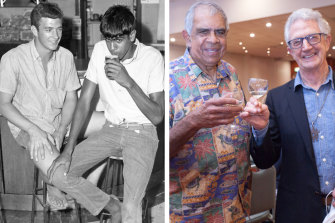 Brian Aarons and Gary Williams have a drink at the Bowraville Hotel in northern NSW during the Freedom Rides in 1965 and, right, the two celebrate 56 years after the original ride.